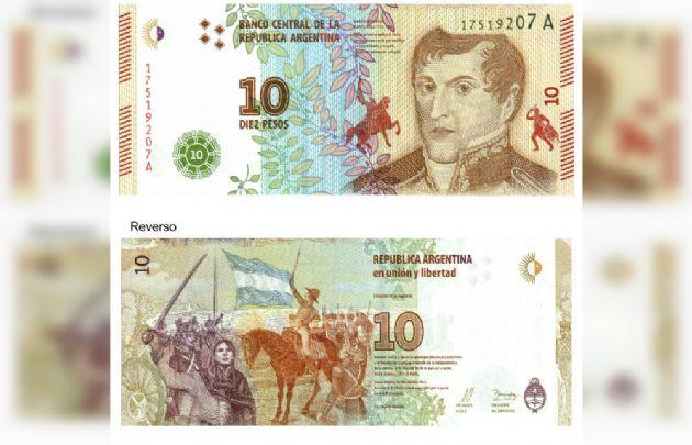 Comenzó a circular el nuevo billete de 10 pesos