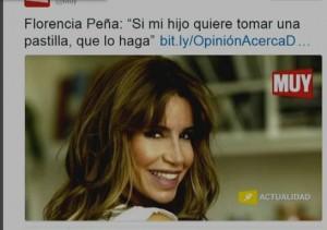 Salvaje ataque mediático a Florencia Peña tweet