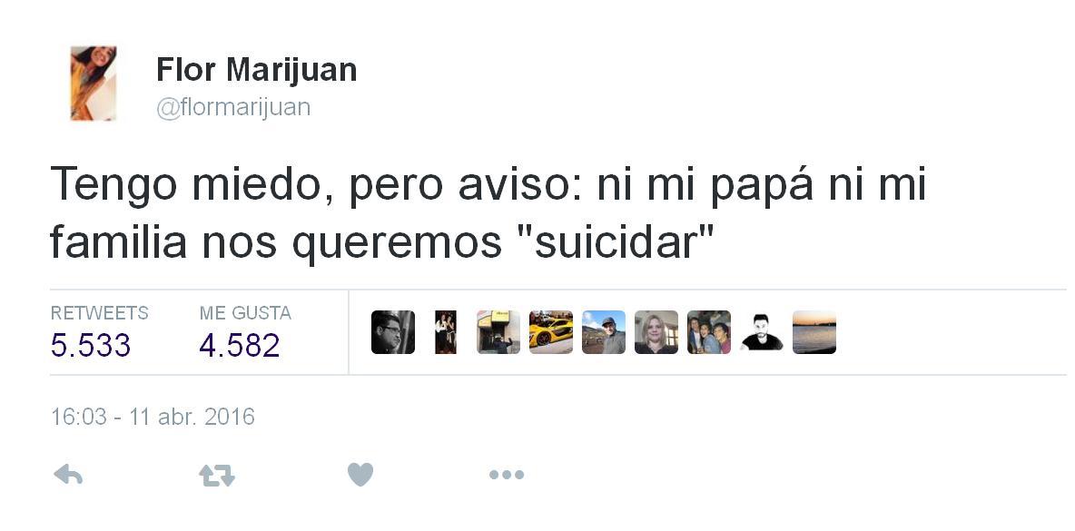 ni mi papá ni mi familia nos queremos suicidar