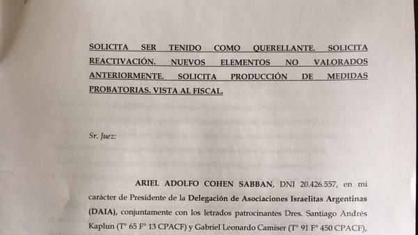 La DAIA pidió la reapertura de la denuncia de Nisman contra Cristina