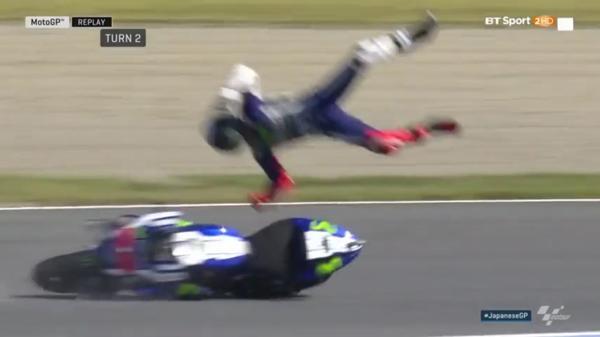 Dura caída de Jorge Lorenzo en el Moto GP de Japón